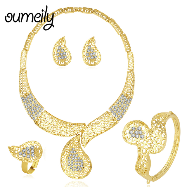 OUMEILY Jewelry Sets Turkish luxury Ladies Jewellery Sets Women Big Flower African Fashion Dubai Gold-Color Statement Jewelry