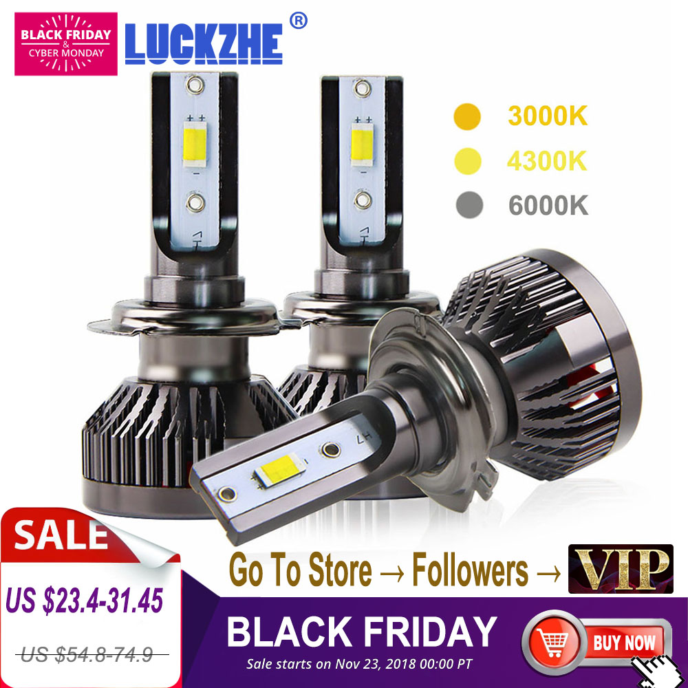 2PCS H7 Led Car Light 100W 10000LM Mini Car Headlight Bulb 3000K 4300K 6000K Auto Led