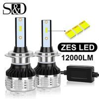 2pcs H1 H3 H4 H7 H8 H11 HB3 9005 HB4 9006 H27 880 881 LED Car Headlight Bulb with ZES Chip 12000LM 6000K Automotive Headlamp 12V