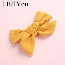 цена 1pcs Soild Cotton Linen Bows Hair Clips,One Size Fit Most School Girls Knotbow Fabric Hairpins,Kids Girls Hair Accessories