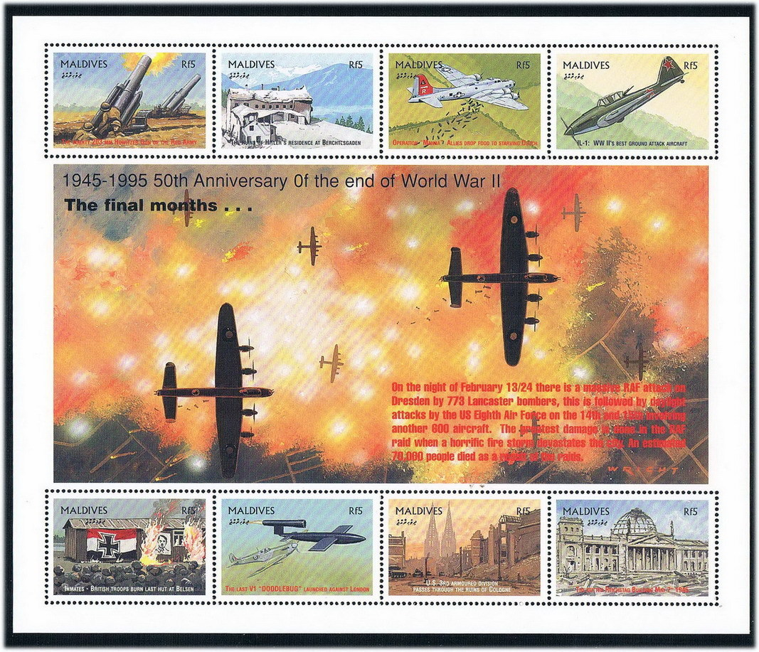 FA0527 Maldives 1995 victory in World War II Allied invasion of German fighter 1 MS new stamps dali epicon 6 white gloss