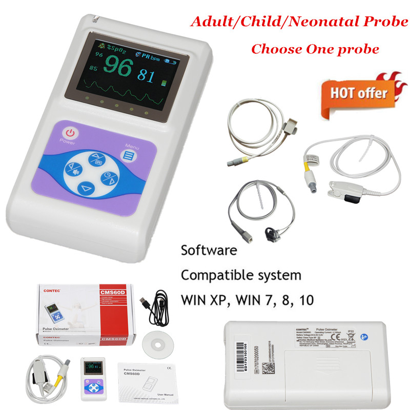 CONTEC OLED FingerTip Pulse Oximeter CMS60D Adult or Child Or Neonatal Probe (Choose One) 24 Hour PC Software image