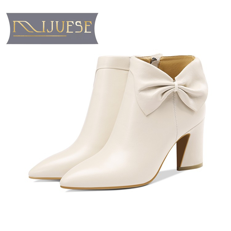 MLJUESE 2019 women ankle boots cow leather zippers cream color slip on autumn spring bow tied