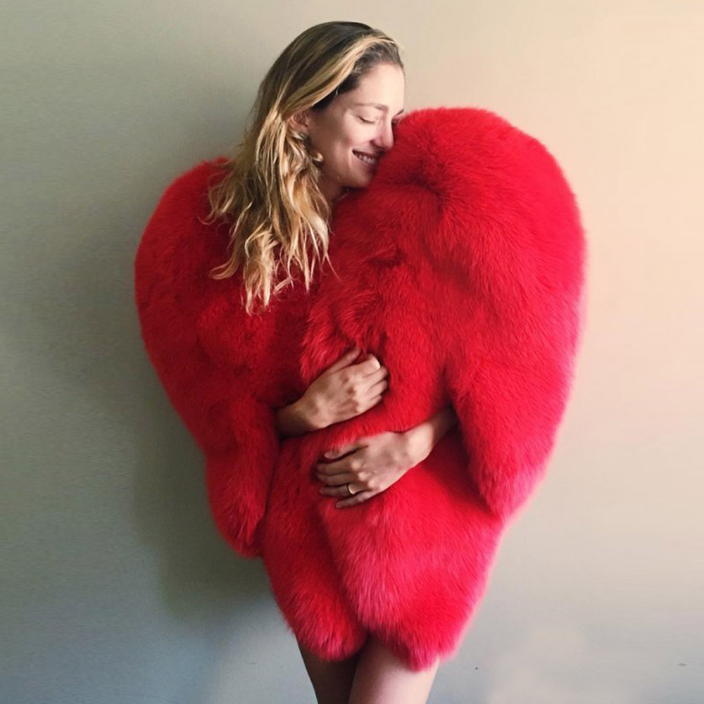 Stylish 3D Red Love Heart Shaped Cape Faux Fox Fur Thick Warm Celebrity Women Long Hairy Shaggy Coat Jacket Outerwear Winter Top in Faux Fur from Women 39 s Clothing