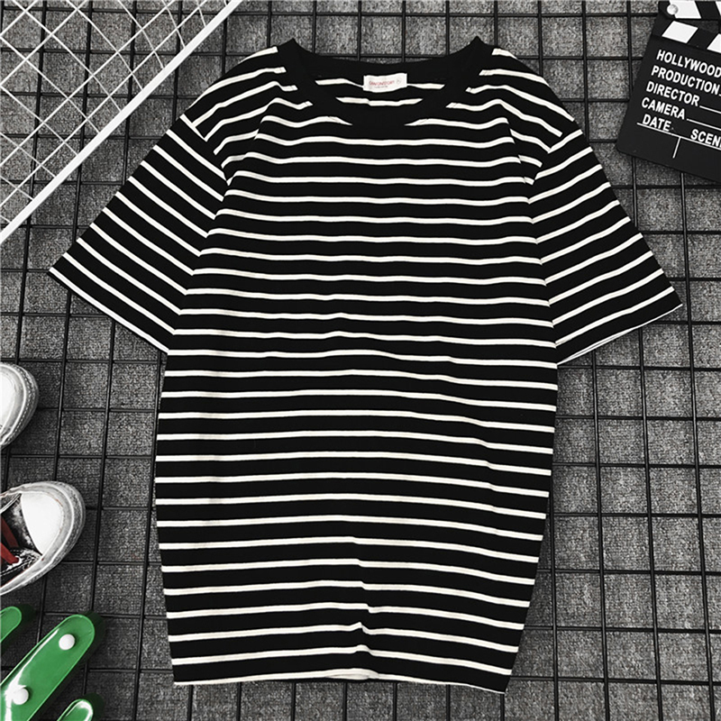 Black White Striped   Blouse   Fashion New Short Sleeve T   blouse   Women Loose   Blouse   Female Casual Tope Tees Harajuku   blouse