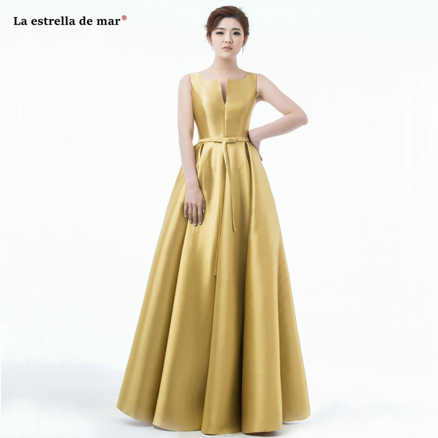 Wedding guest dress best selling satin sexy V neck A Line gold royal blue red bridesmaid dress long high quality vestido madrinh