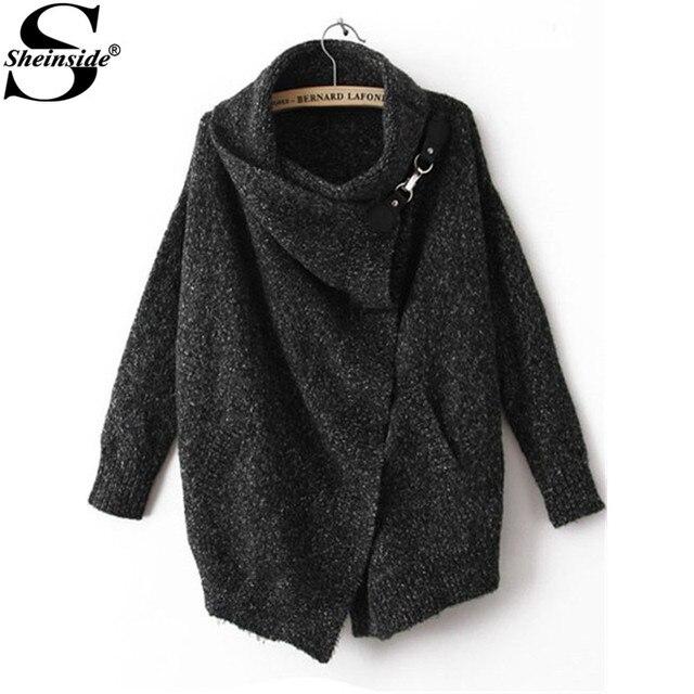 Sheinside Mulheres Casual Malhas Malha Inverno/Outono Marca Elegante Do Vintage Da Moda Lapela Manga Comprida Ouch Cardigan Sweater