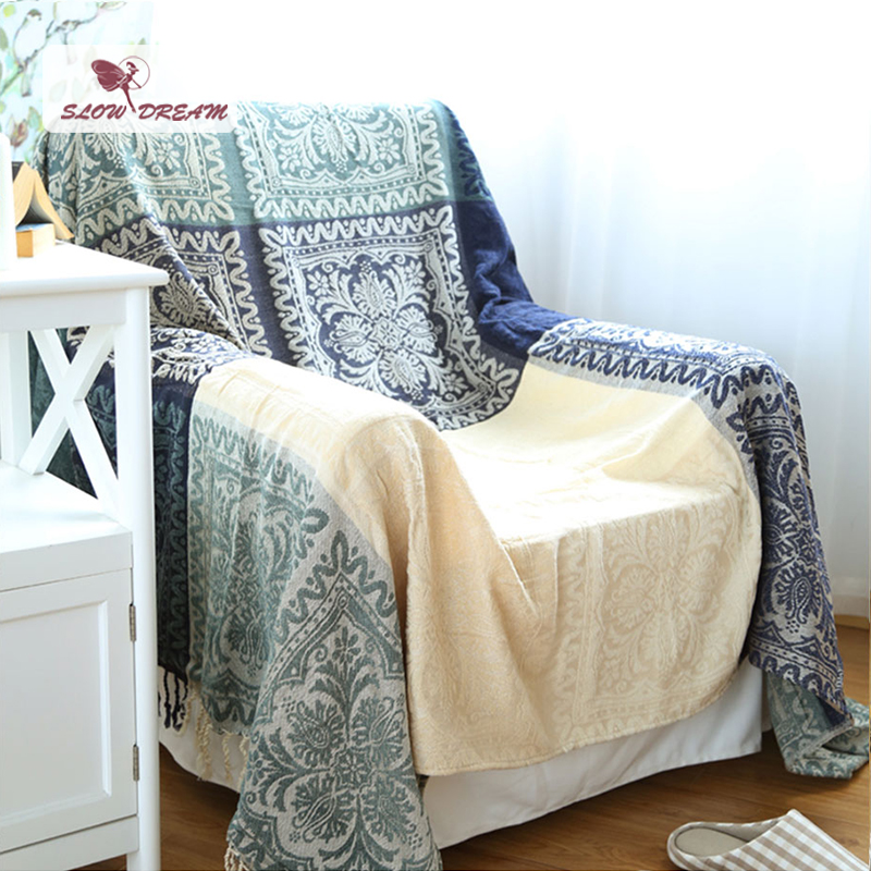 Slowdream Plaid Blanket 100% Cotton Plaid Knitted Bedspread Sofa Bed Covers Home Quilt Comforter Winter Adult Bohemian Blanket