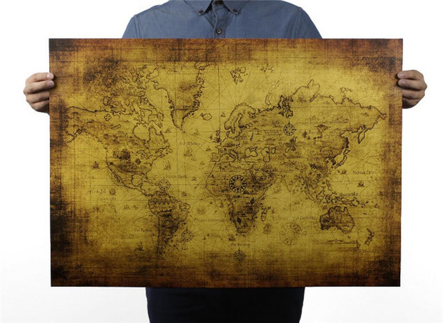 72x51cm vintage the old world map poster gifts home decor retro 72x51cm vintage the old world map poster gifts home decor retro kraft paper large treasure map gumiabroncs Images