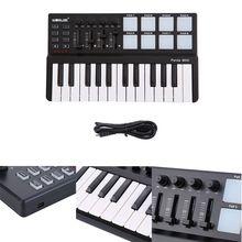 Новая MIDI клавиатура с пандой, 25 клавиш, мини-пианино, USB клавиатура и барабанная панель, MIDI контроллер