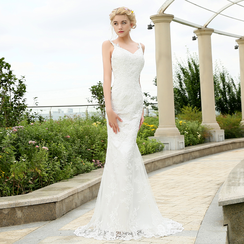 2016 Charming Lace Mermaid Wedding Dress Spaghetti Straps