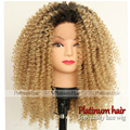 Top Sale Beauty Curly Wig Black Blonde Ombre Color Hair Heat Resistant Afro Kinky Curly Wig Synthetic Lace Front Wigs For Women