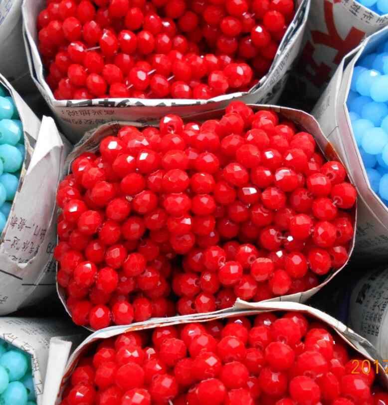 Color rojo no hialino 4*6mm 50 Uds Rondelle Austria cuentas de cristal facetadas cuentas espaciadoras sueltas para la fabricación de joyas