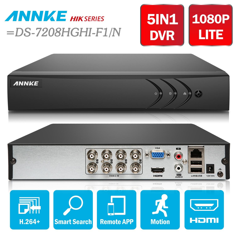 ANNKE 8CH 1080N 5in1 TVI CVI AHD Rete HD H.264 + DVR HDMI per CCTV Sistema di Telecamere di Sicurezza = HIK DS-7208HGHI-F1/N