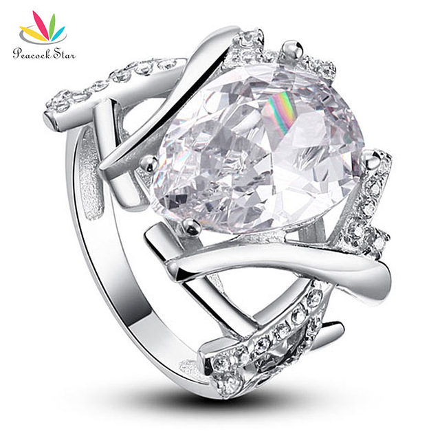 Peacock Star 4 Carat Pear Cut Created Diamond Solid 925 Sterling Silver Wedding Ring Jewelry CFR8018