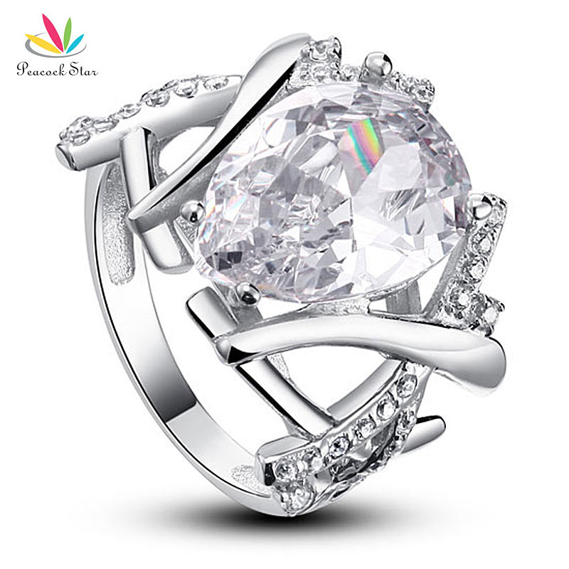 Peacock Star 4 Carat Pear Cut Solid 925 Sterling Silver Wedding Ring Jewelry CFR8018 peacock star 1 carat 2 pcs wedding engagement sterling solid 925 silver ring set jewelry cfr8029
