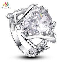 Estrella del pavo real 4 Carat Pear Cut Creado Diamond Joyería Del Anillo de Bodas de Plata Esterlina del Sólido 925 CFR8018