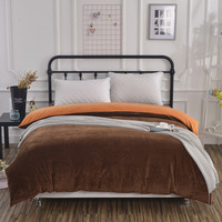 Double color brown orange Duvet Cover comfortable zipper Bedding bed sack solid color soft quilt cover twin full queen king