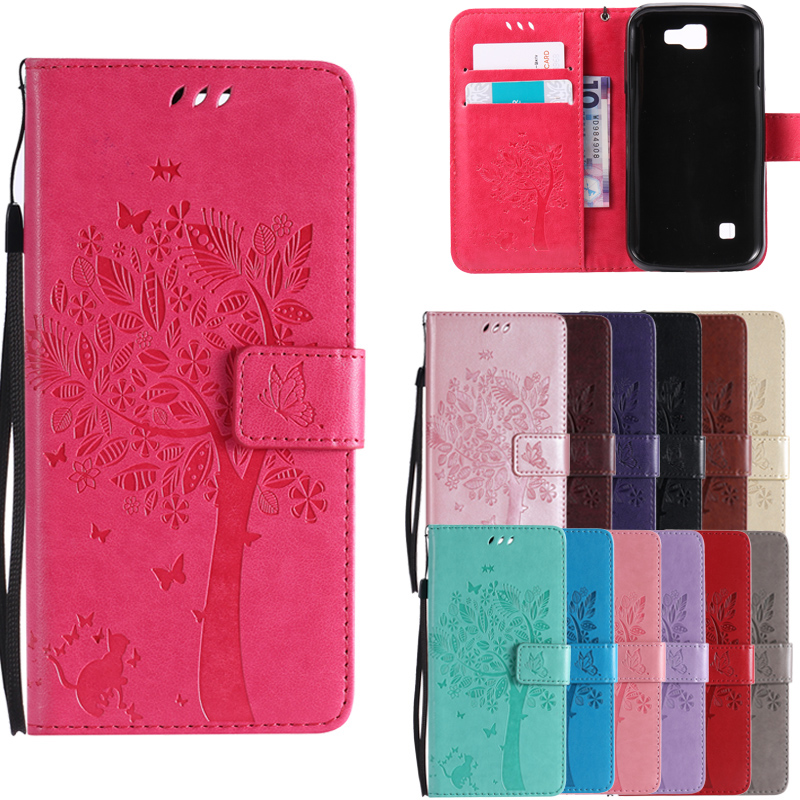 For <font><b>LG</b></font> K3 LTE <font><b>K100</b></font> K100DS LS450S Coque Cartoon Cat Tree Embossed Stand Book Flip Wallet Leather Cover Soft TPU Phone Case image