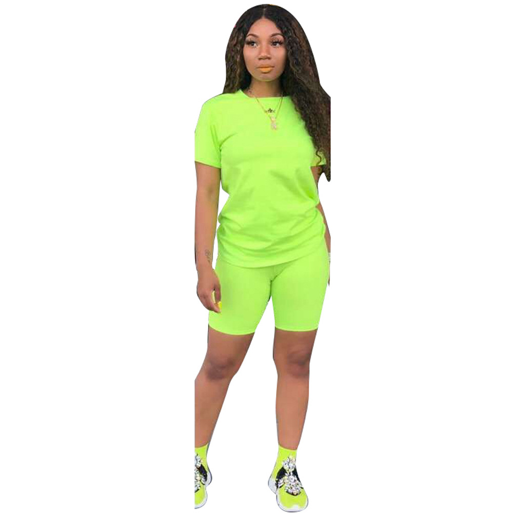 CM.YAYA 2019 women solid sporting casual two piece set short sleeve tee top