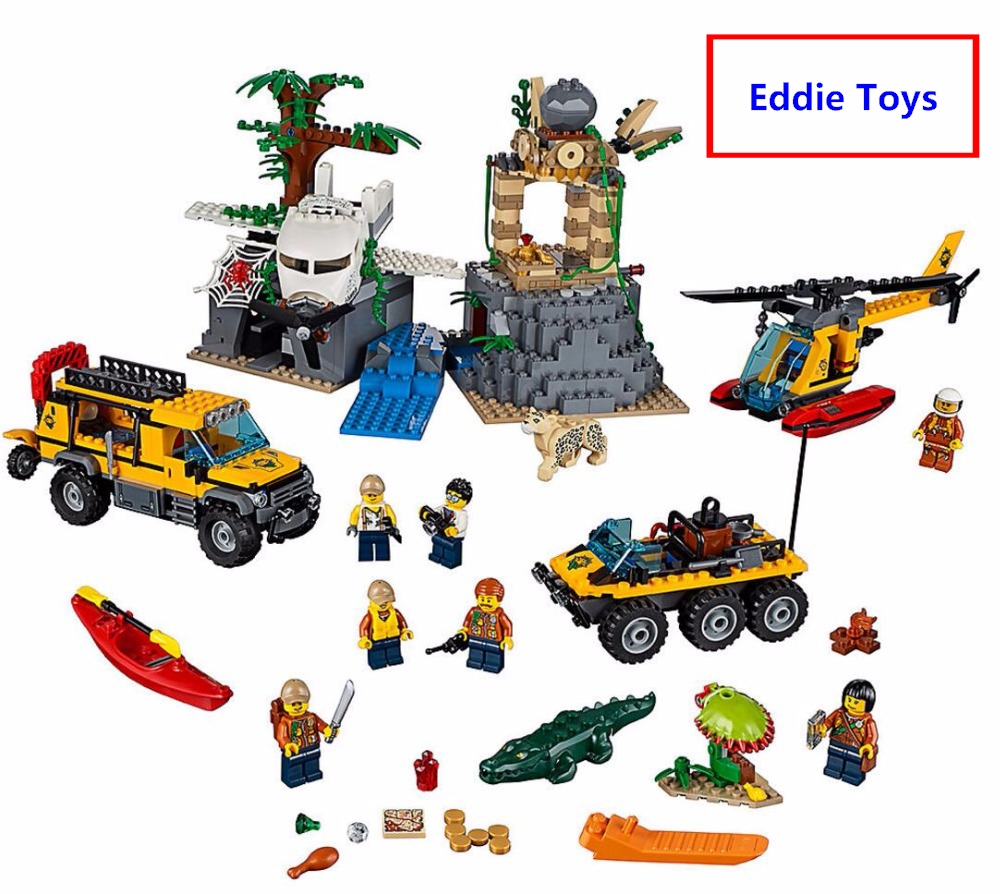 все цены на New City Jungle Series Jungle Exploration Site building blocks DIY Bricks Toys Compatible with Lego 60161 Gift For Children