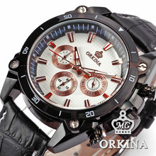 ORKINA Six-hand Miyota JS20 Movement Leather Band Mens Watches Top Brand Luxury Male Quartz Analog Watch Relogio Masculino