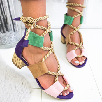 Women Sandals Hemp Rope Gladiator Sandals  For Women Shoes With Heels Sandals 2019 Summer Sandalias Mujer Mix Color Women Heels