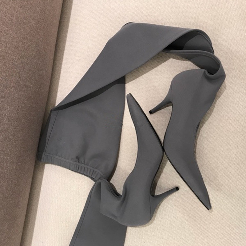 Longues Genou Botas Bout Bottes Haute Chaussette 5cm Mince Pointu Chaussures De Heels Heels Mujer Stretch Femmes Cours Zapatos Pour Cuisse Talon 5cm xwxqZvgS