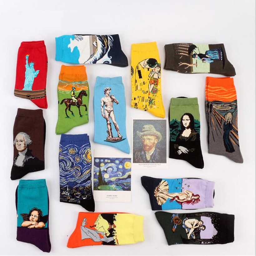 Fashion Art Cotton Crew Printed Socks Painting Pattern Women Harajuku Design Sox Calcetine Van Gogh Novelty Funny Drop Ship