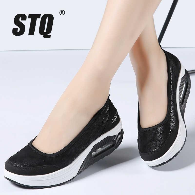98a034278 STQ 2019 весна женская обувь на плоской платформе женская дышащая сетка  повседневная обувь кроссовки женские слипоны