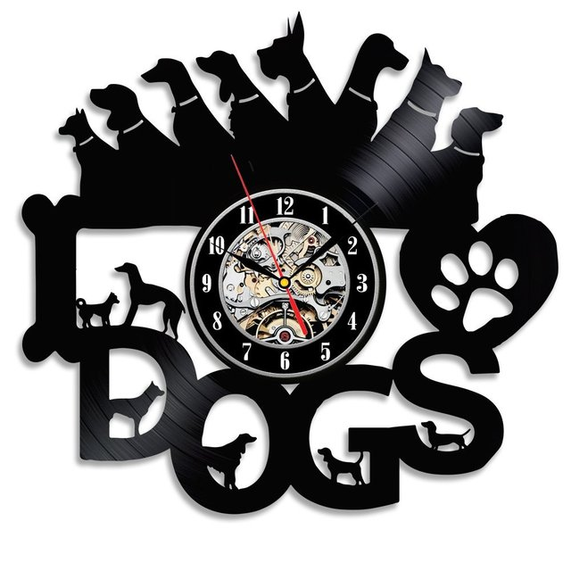 Hot CD Vinyl Record Wall Clock Modern Design Animal Dog Cat Horse Wall Watch Classic Clock Relogio Parede