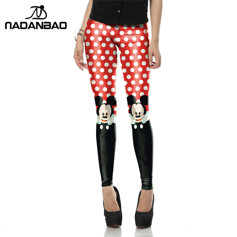 Nadanbao apparel New Arrival Red leggins Cute micky rat leggins Printed Women   leggings   women pant