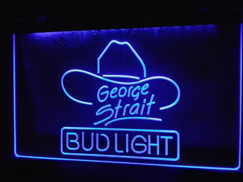 le116 bud light george strait bar pub led neon light sign in plaques signs from home garden. Black Bedroom Furniture Sets. Home Design Ideas