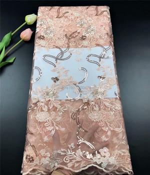 Nuevas telas de encaje nigerianas baratas 2019 tela de encaje francés de alta calidad de encaje de lentejuelas Rosa tela de encaje africano para materiales de vestir