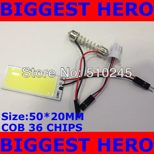 30X Free shipping DOME light interior COB panel 36 chips 7W LED Light Bulb Lamp +T10 FESTOON CONNECTOR White