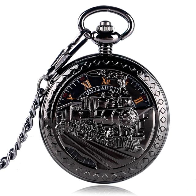 CAIFU Retro Exquisite Skeleton Running Steam Train Design Pocket Watch Black Wom