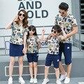 2016 verão new casual clothing família combinando roupas casal roupas pai mãe filho filha define t-shirt + calças curtas