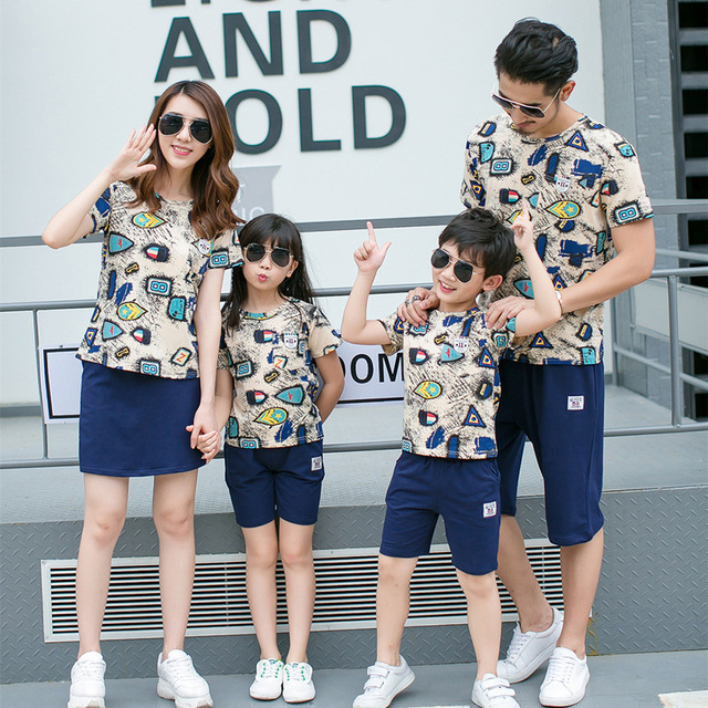 2018 summer new casual family matching clothing outfits