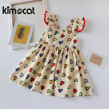 Kimocat Baby Girl Clothes Sleeveless Summer Princess Dress Pink Cute Kids Dresses For Girls Vestido Infantil Girl Party Dress baby girl dress pink flower sleeveless ball gown princess wedding dresses girls baptism 1 year vestido infantil 6m 4y