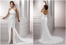 vestido de noiva White Chiffon New Arrival 2015 Beach Backless Wedding Dress Gown