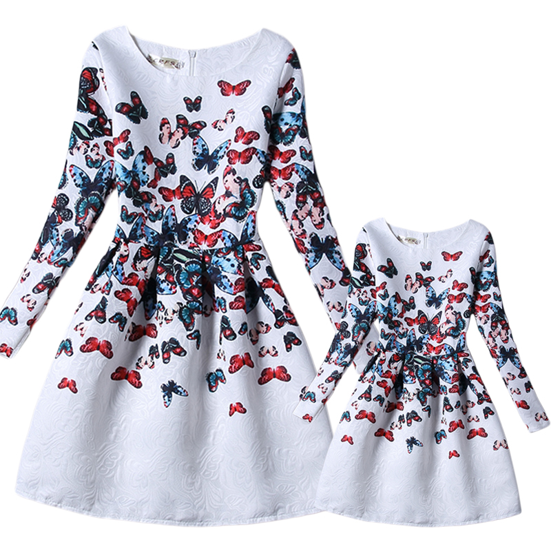 Mother Daughter Dress 2017 New Casual Butterfly Print White Party Dresses Long Sleeve Matching Family Clothes 6-8T S-XL GD55