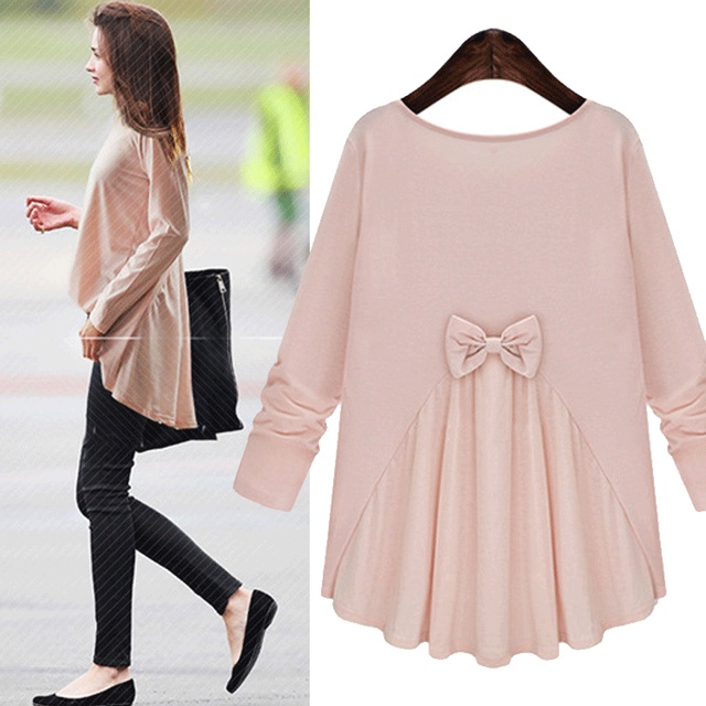 Kesebi 2017 Spring Summer Women Female Casual Loose Pink Cute O-neck Back Bow Tops European Long Sleeve Solid Color T-shirts