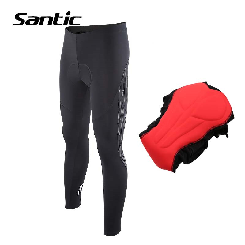 Santic Mens Cycling Pants Winter Fleece Thermal Reflective Road Mountain Bike Pants 4D Padded Bicycle Pants Cycling Trousers santic men winter cycling pants thermal fleece windproof mtb road bike pants 4d padded bicycle long pants cycling clothes