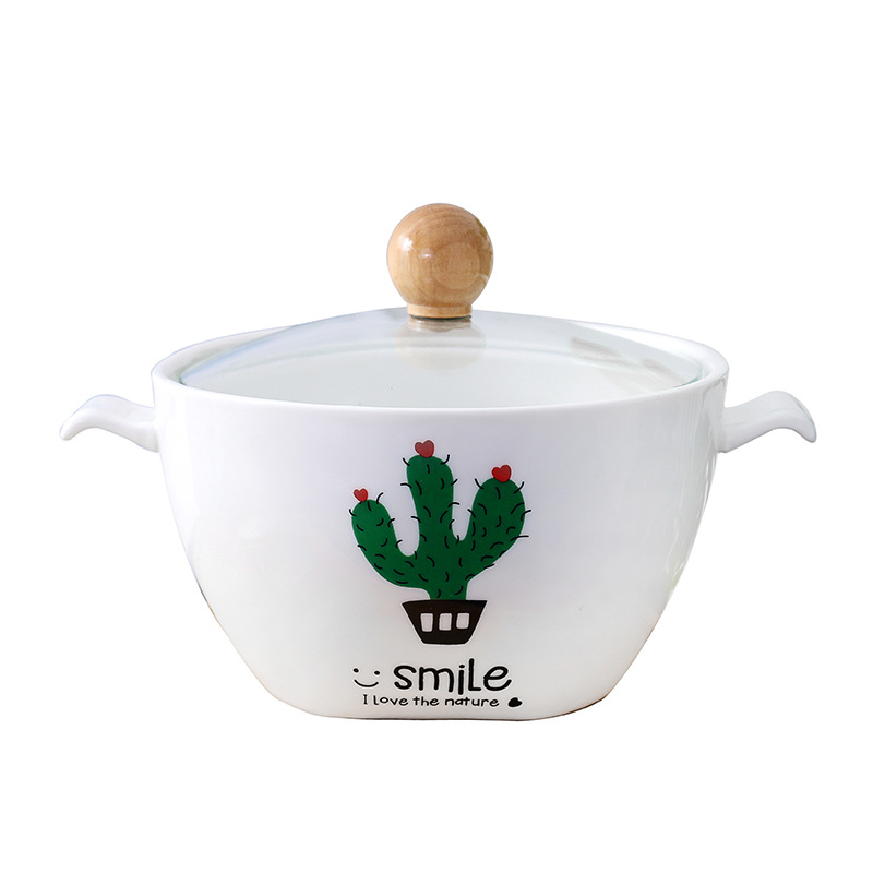 Creative Cactus Potted Ceramic Instant Noodle Bowl Nordic Square Bottom Meal Soup Bowl with Cover Porcelain Bowl