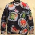 New 2016 Harajuku style  Men South Korea sushi print Pullover funny 3D Sweatshirts Hoodies
