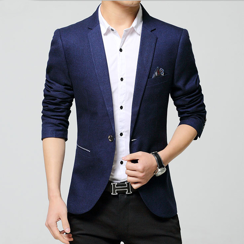 Sensfun Fashion Man Suit Blazers Jacket Silm Style Casual Business Coat One Button For Wedding Party Prom Solid Color