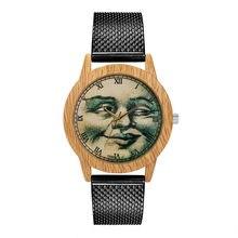 ef22bb073 الأزياء الخشب الحبوب النساء ساعة معصم الزجاج مرآة سيليكون حزام ساعة كوارتز  فريد تصميم السيدات ساعة