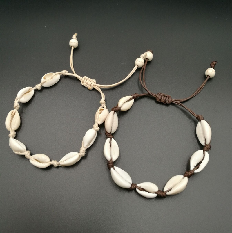 Hot Sell Natural Seashell Handmade Knit Rope Boho Bracelet For Women Accessories Simple Trendy Shells Cowrie Jewelry