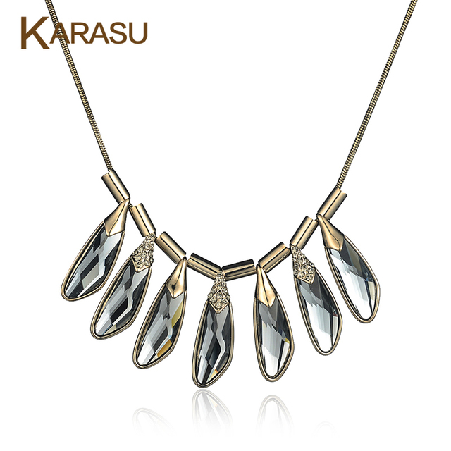 Luxury Real Gold Plated Peacock Feather Shape Gray Glass Shiny Crystal Pendant Short Chain for Women Necklace Jewelry Gifts