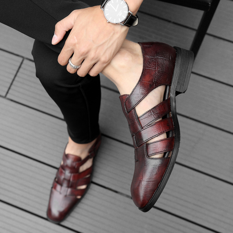 2018 new men's sandals summer fashion men shoes genuine leather - Men's Shoes - Photo 5